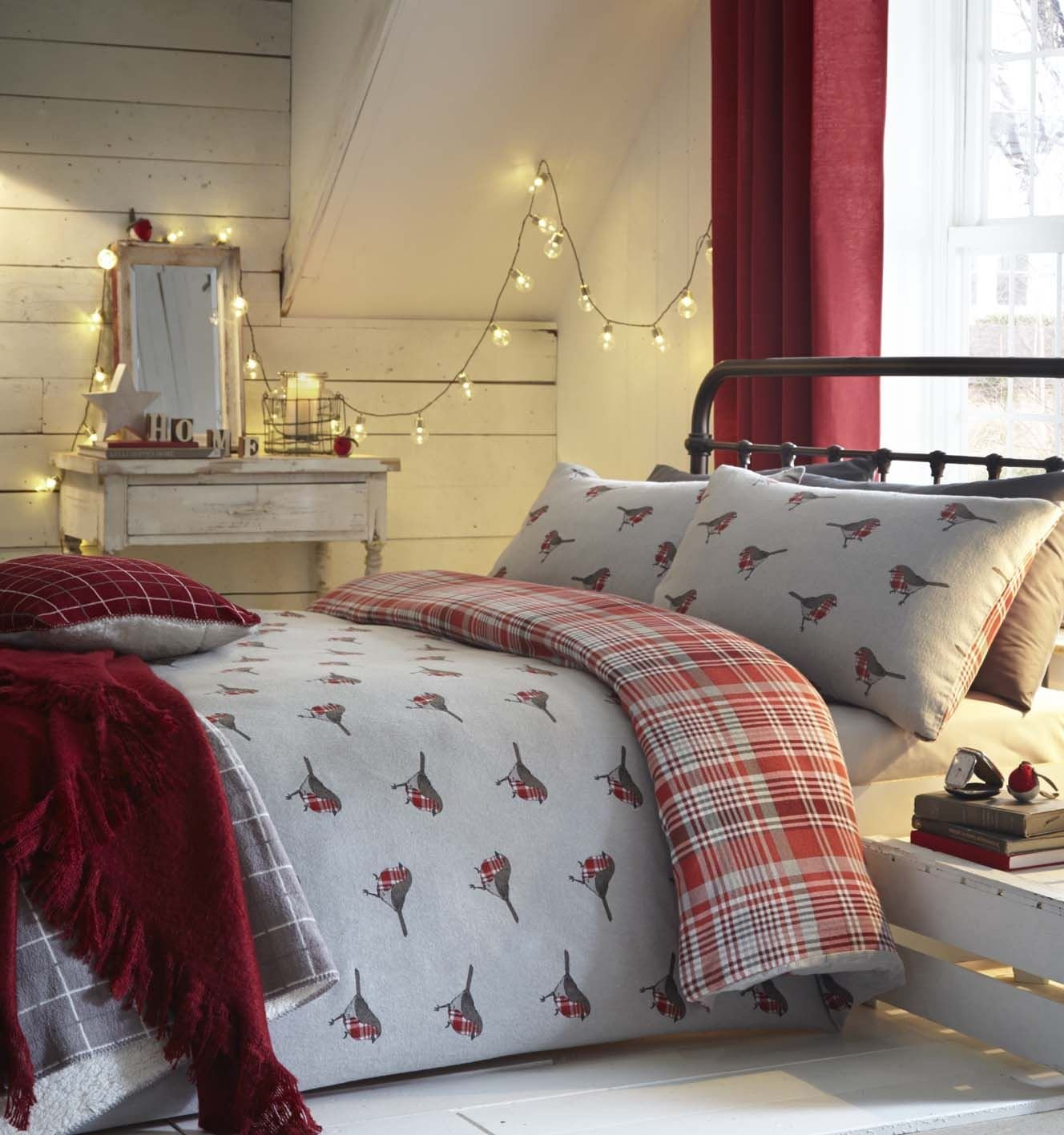 Christmas Winter Robins Tartan Grey RED Brushed Cotton Single (Plain Charcoal Grey Fitted Sheet - 91 X 191CM + 25) 3 Piece Bedding Set Duvet Cover