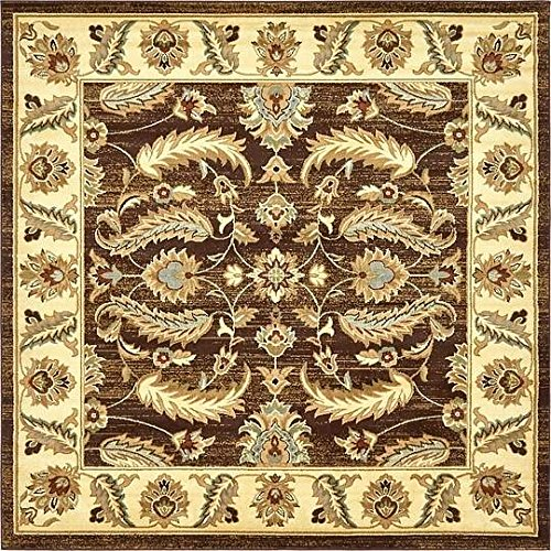 Unique Loom Agra Collection Brown 8 ft Square Area Rug (8' x 8') (Agra Collection)
