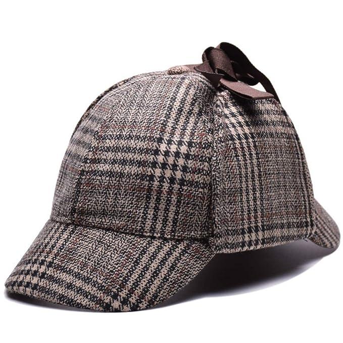 Sherlock Holmes Cosplay Hat Deerstalker Newsboy Flat Cap Retro Vintage  Earflaps Detective Hat Brown e93b23a42de7