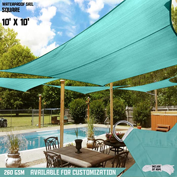 TANG Sunshades Depot Turquoise Waterproof 260 GSM Custom Sized 10'x10' Ft Curved Edge Sides Sun Shade Sail Terylene Woven Polyester Anti-Rust D-Rings for Patio Awning Garden Pergola or Gazebo