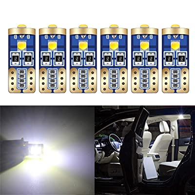 HOLDCY T10 194 LED Light Bulbs - Super Bright White 3030 Chipsets, W5W 168 LED Replacement Bulbs, Canbus Error Free - for Car Interior Light,Dome Lamp,Door Marker License Plate Lights (Pack of 6): Automotive