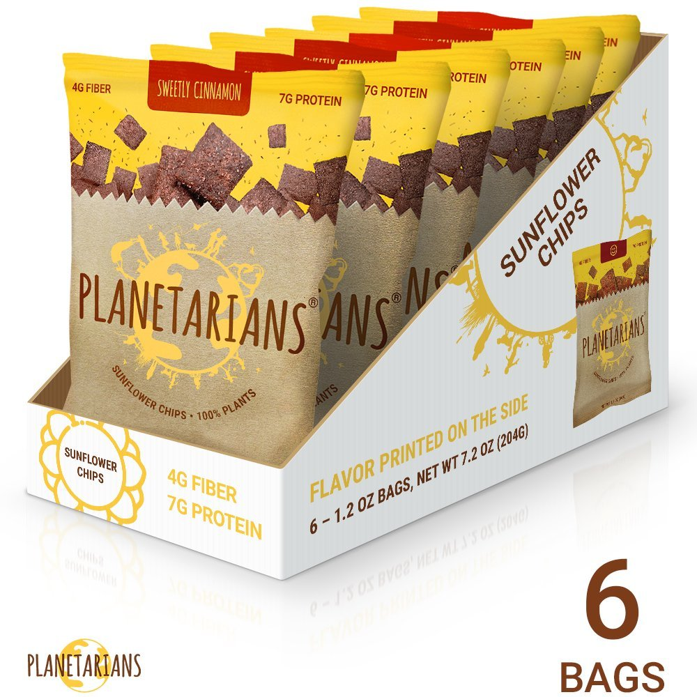 Planetarians Healthy Snacks Baked Chips – Vegan Protein Chips (7g) High Fiber Crisps (4g) Plant Based (130cal) Sweetly Cinnamon Chips Snack Pack,... by Planetarians