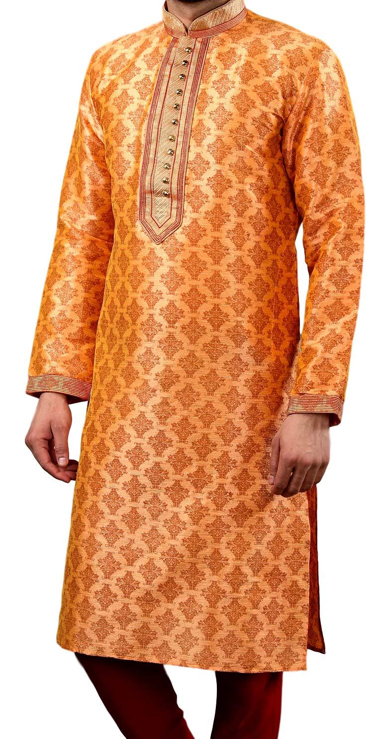 Tathastu Mens Kurta Pyjama Set - Light Orange - 1797B - 50