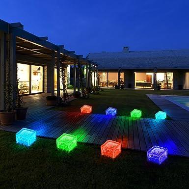 8er Set RGB LED Solar Lampen Eis Würfel Balkon Außen Beleuchtung ...