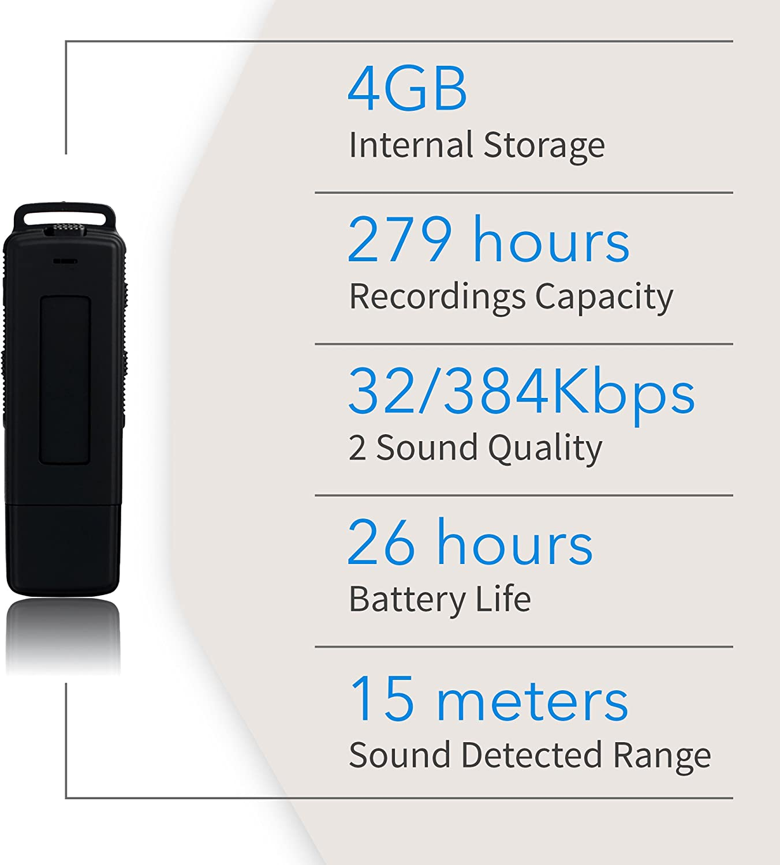 4GB // 279 Stunden Kapazit/ät Sprachaktivierter Spion USB-Stick Aufnahme beim Laden Digitales Diktierger/ät 26 Stunden Batterie Mini Speicherstick ohne LED Lichter Ausw/ählbare Qualit/ät 32 oder 384 Kbit // s
