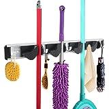 WINOMO Rastrelliera per scope e spazzole, utile anche in garage, montabile a parete, con quattro posti e cinque uncini per un'organizzazione razionale e salva spazio