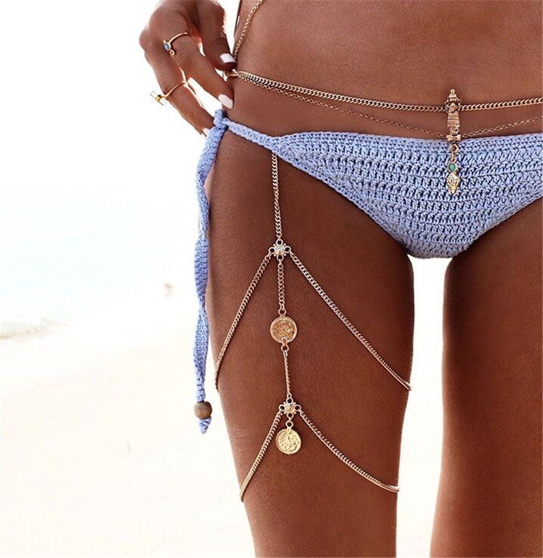 Tmrow 1pc Simple Women Body Jewelry Handmade Chain Tassel Thigh Leg Chain Bracelet,Gold