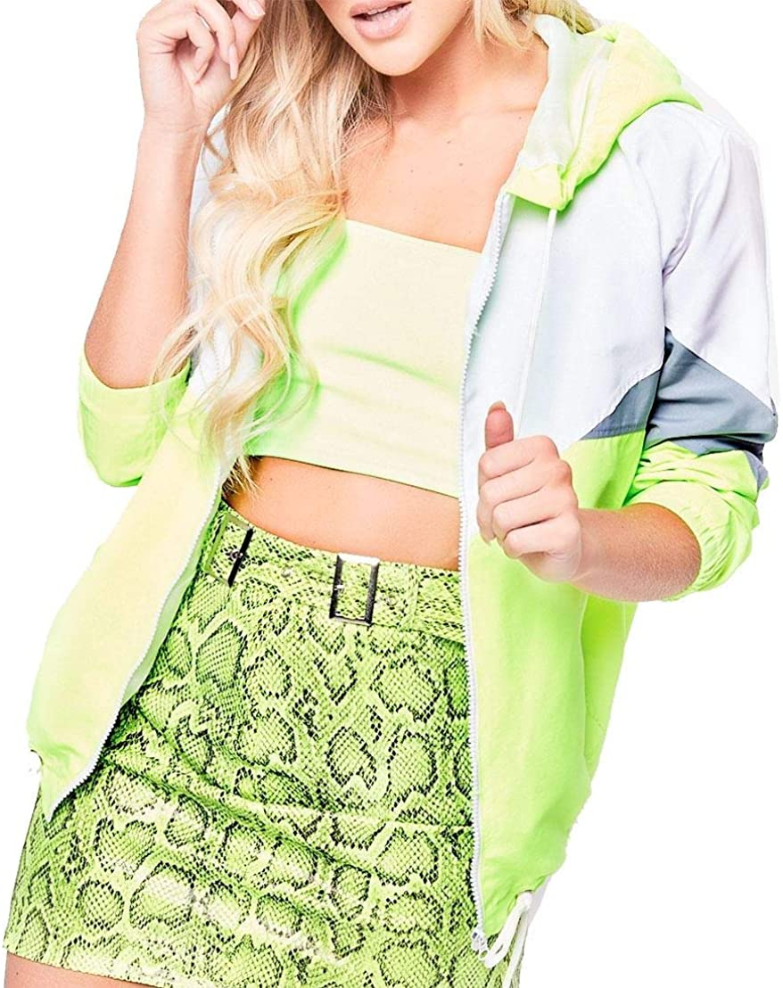 Islander Fashions Ladies Long Sleeve Color Block Jacket Womens Fancy Windbreaker Hooded Coat Top S/XL Neon Green