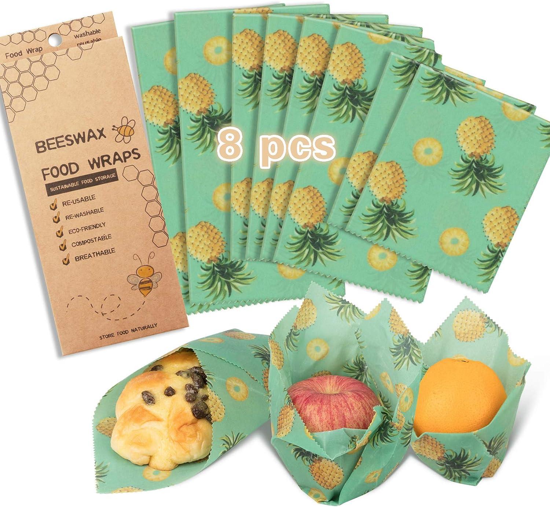 Beeswax Wraps Reusable Food Wrap Assorted 8 PACKS, Reusable Food Wraps Eco Friendly, Sustainable Food Storage-3 Medium-Say Goodbye to Plastic