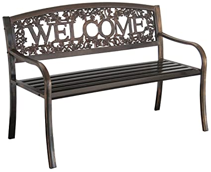 Enjoyable Leigh Country Tx94101 Metal Welcome Outdoor Bench Evergreenethics Interior Chair Design Evergreenethicsorg