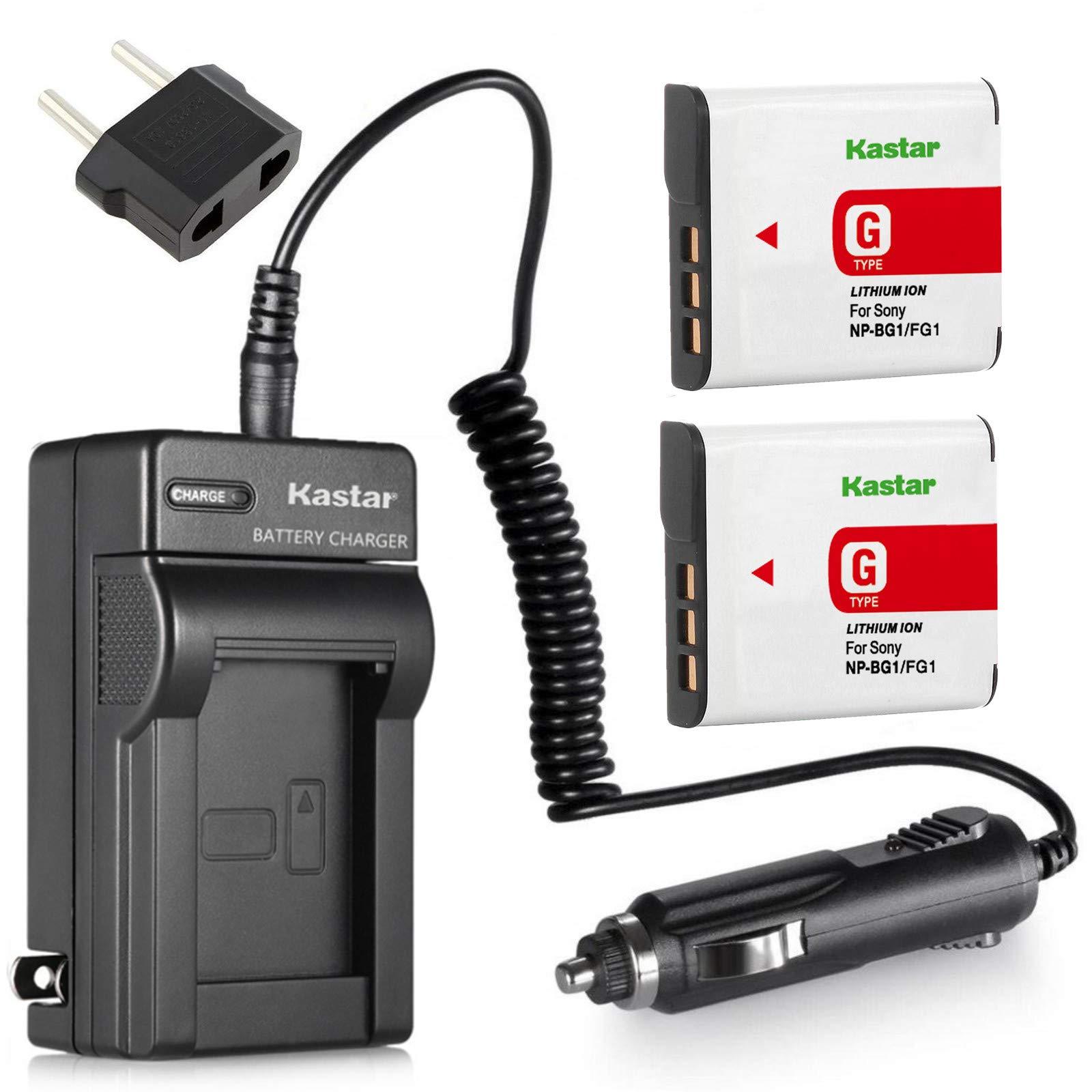 Kastar Battery (2-Pack) and Charger for Sony NP-BG1, NP-FG1 and Cyber-shot DSC-W120, W220, W150, DSC-H3, DSC-H7, DSC-H9, DSC-H10, DSC-H20, DSC-H50, DSC-H55, DSC-H70, DSC-HX5V, HX7V, HX9V, HX10V, HX30V