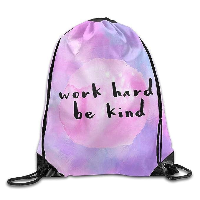 Image Unavailable. Image not available for. Color  Work Hard Be Kind Trendy  Drawstring Shoulder String Bag Backpack Sackpack c093e9fb6ad5c