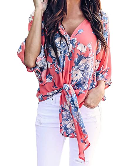 37e3c22f4c307 QIFENG Women Floral Print Chiffon Tops Bat Sleeve Deep V Neck Tie in Front  Tops Blouses