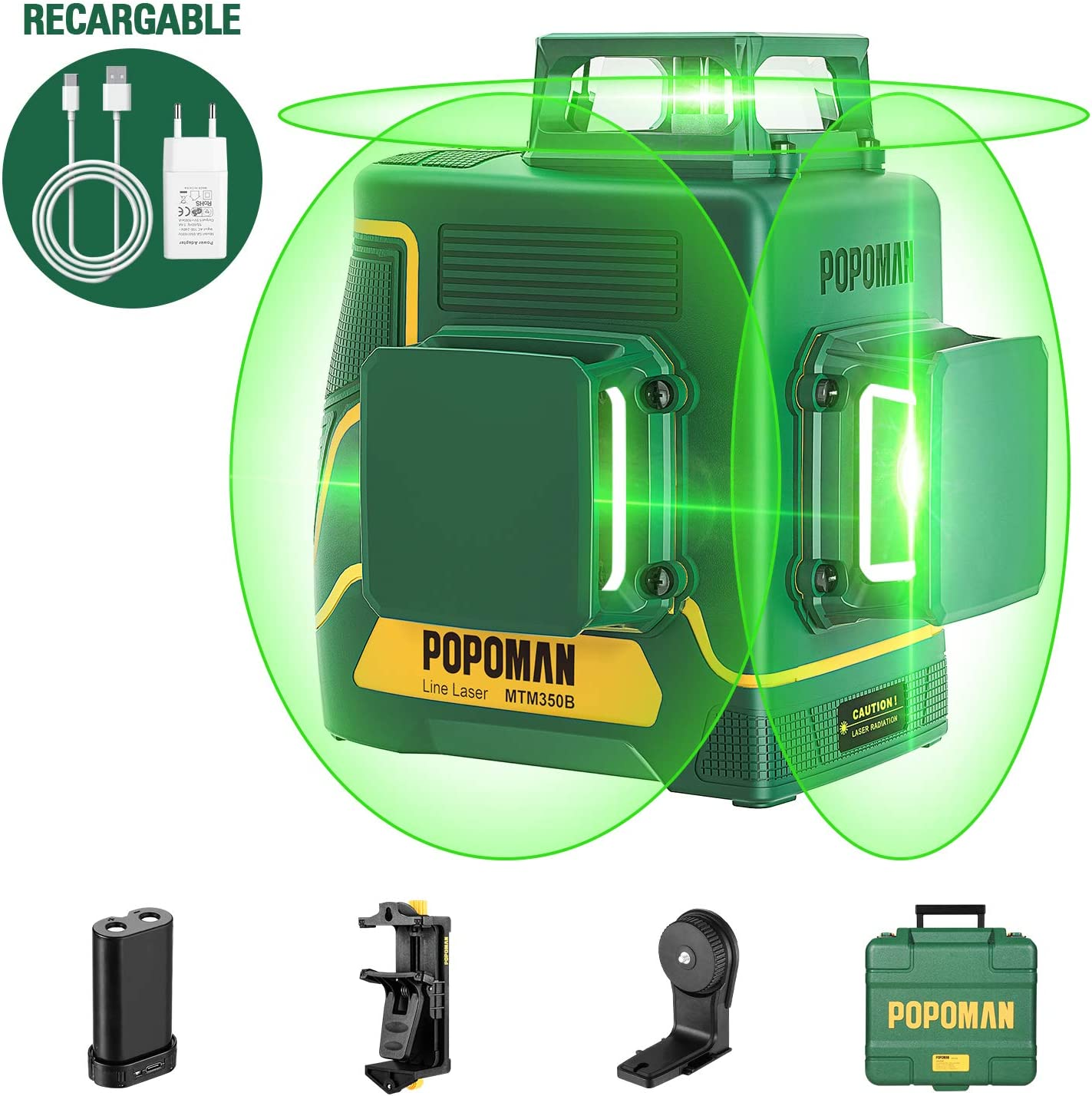POPOMAN Nivel Láser Verde, 3x360° Profesional Línea Laser,para Diseño de Interiores,USB Carga,Autonivelación, Función de Pulso,bolsa(incl. 5200mAh batería de litio y Base Magnética)