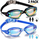 Noorlee Swim Goggles, 2 Pack Swimming Goggles for Adult Men Women Youth Kids Child, No Leaking Anti Fog UV 400 Protection Waterproof 180 Degree Clear Vision Triathlon Pool Goggles