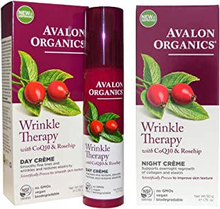 product image for Avalon Organics Wrinkle Therapy Day Cream and Avalon Organics Wrinkle Therapy Night Cream Bundle With CoQ10 and Rosehip, 1.75 oz (50 g) each