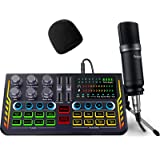 Podcast Equipment Bundle, Audio Interface with DJ Mixer Sound Mixer All-in-ONE with 3.5mm Microphone Perfect for Live Streami