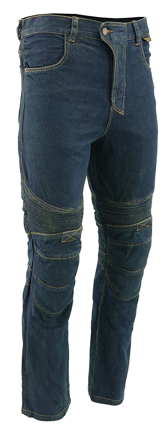 M-BOSS MOTORCYCLE APPAREL-BOS15573-BLUE-Mens denim motorcycle pants with CE armor and Kevlar.-BLUE-30