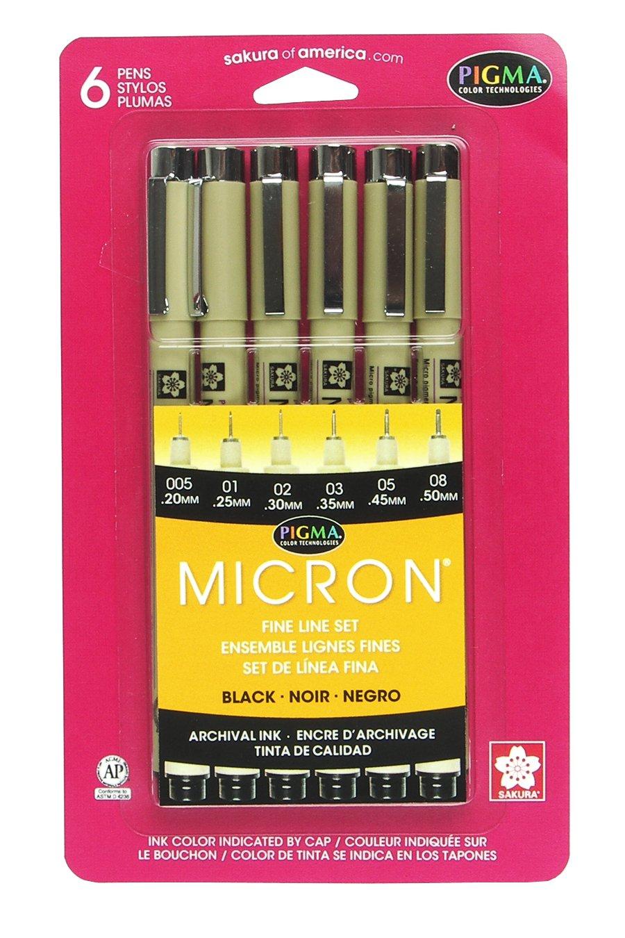 Sakura Pigma 30062 Micron Blister Card Ink Pen Set, Black, Ass't Point Sizes 6CT Set by Sakura (Image #1)