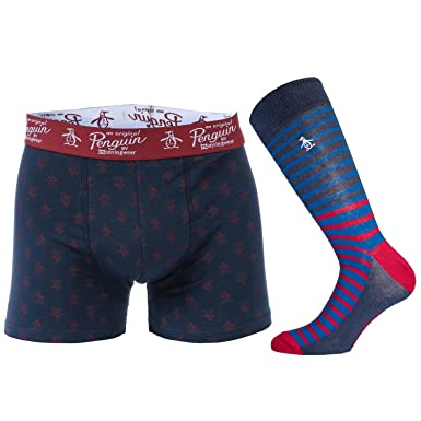 df277cad61074e Mens Original Penguin Mens Sock and Boxer Short Gift Set in Red navy - S