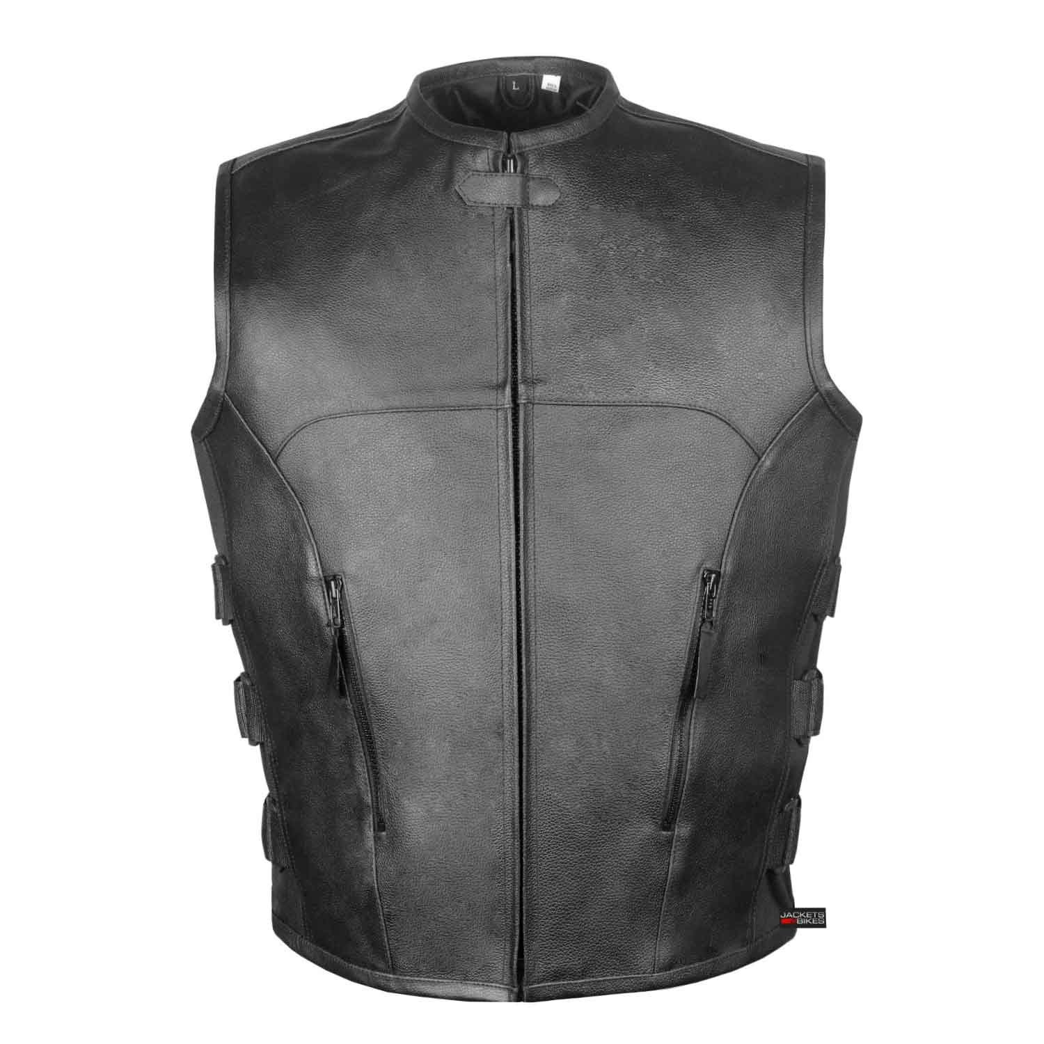 Men's Biker Swat Style Armor Motorcycle Leather Vest Conceal Carry Pockets XXL by Jackets 4 Bikes (Image #2)