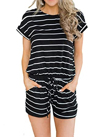 cf3214af7bf Amazon.com  Famulily Women s Summer Short Sleeve Loose Striped Romper and  Jumpsuit Shorts  Clothing