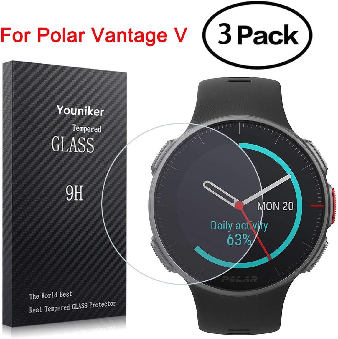 Youniker - Juego de 3 protectores de pantalla para Polar Vantage V, vidrio templado para Polar Vantage V Multisport Smart Watch, protector de pantalla de vidrio antiarañazos, antihuellas, sin burbujas