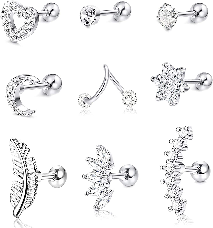 Lolias 9pcs Stainless Steel Cartilage Earrings For Women Girls