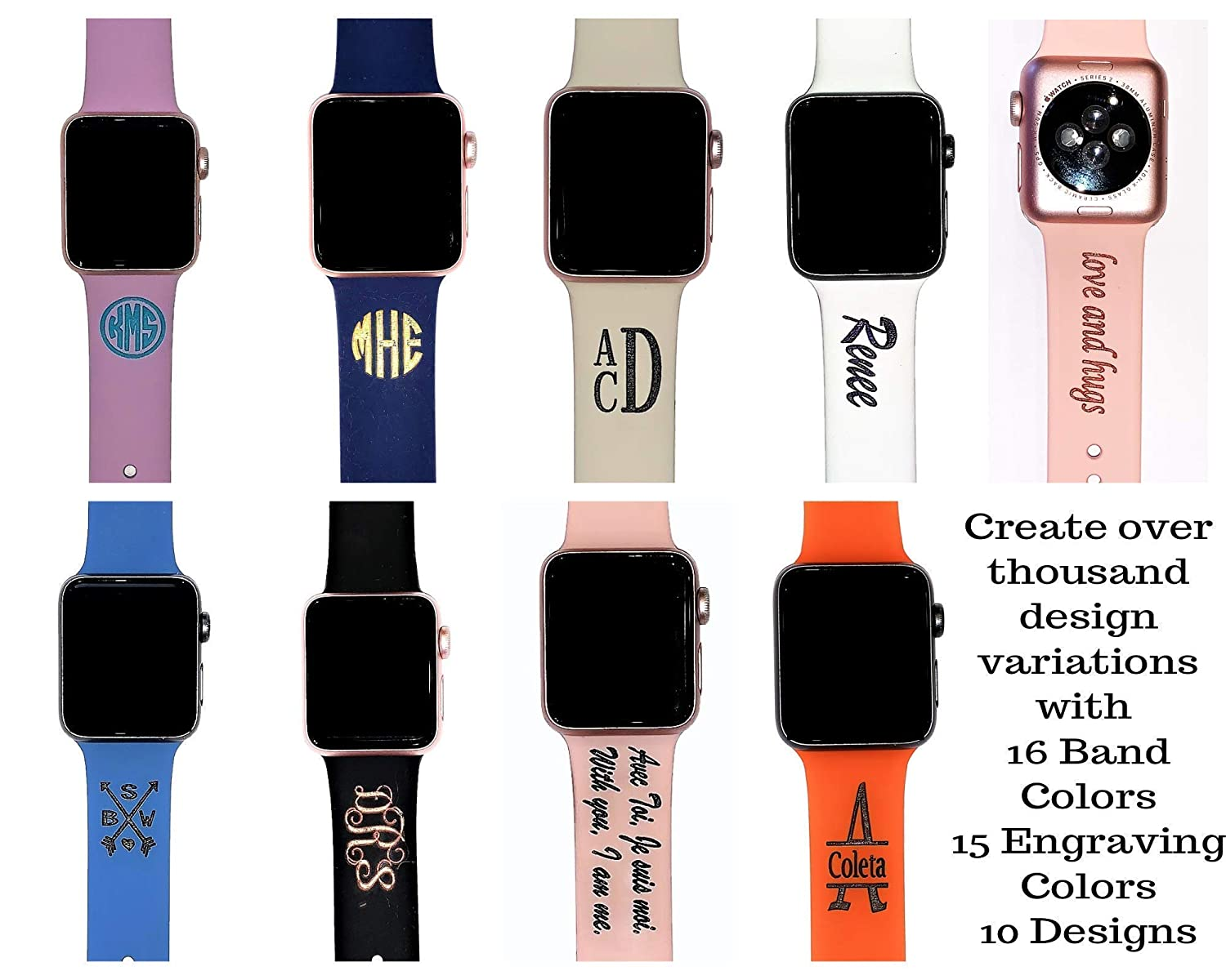 Amazon Com Silicone Watch Band Custom Silicone Watch Band Personalized Silicone Band Compatible With Apple Watch 38mm 40mm 42mm 44mm Monogram Watch Band Ships In 3 5 Business Days Handmade