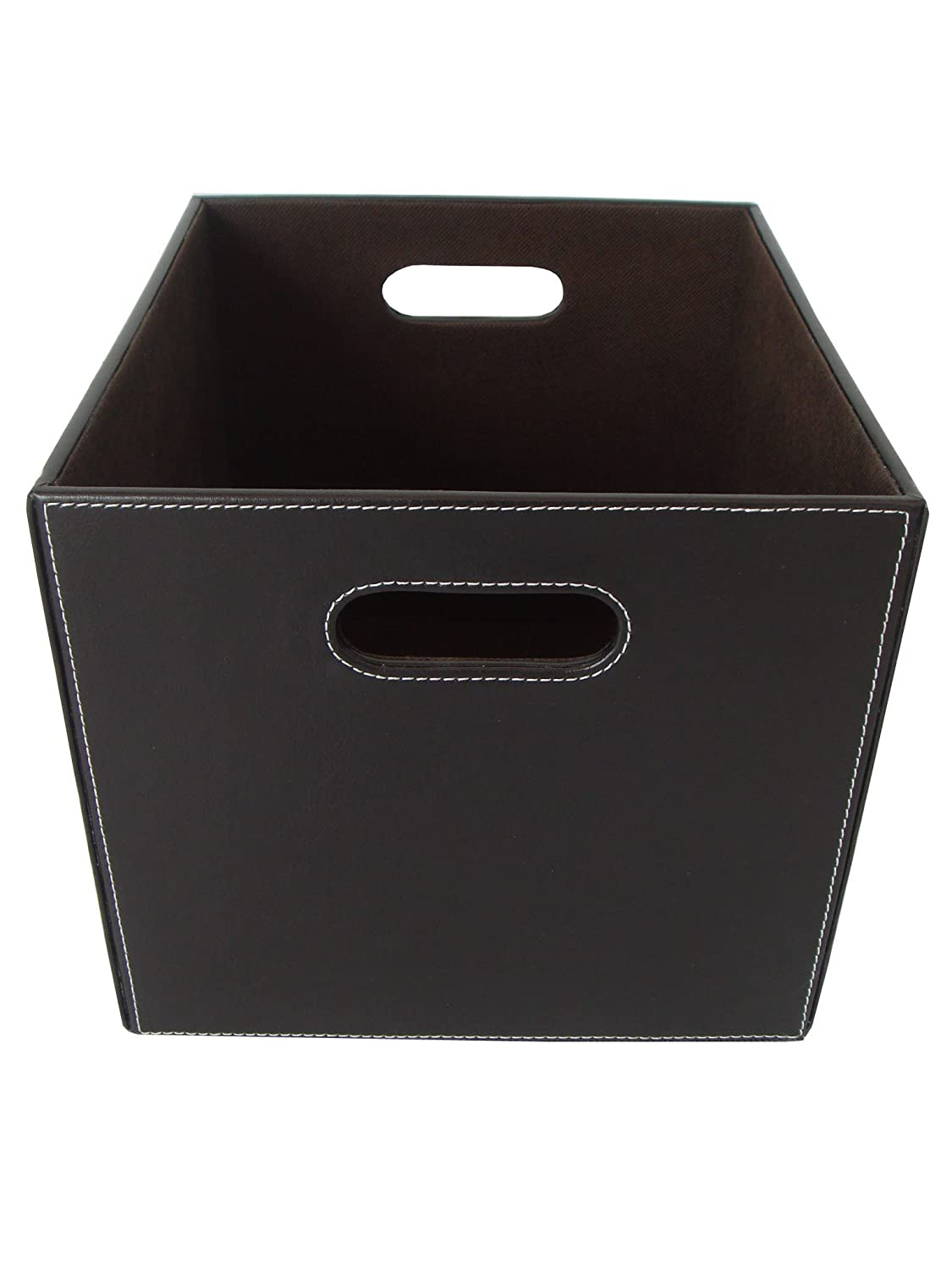 Organize It All Small Faux Leather Basket (Dark Brown) 31501W