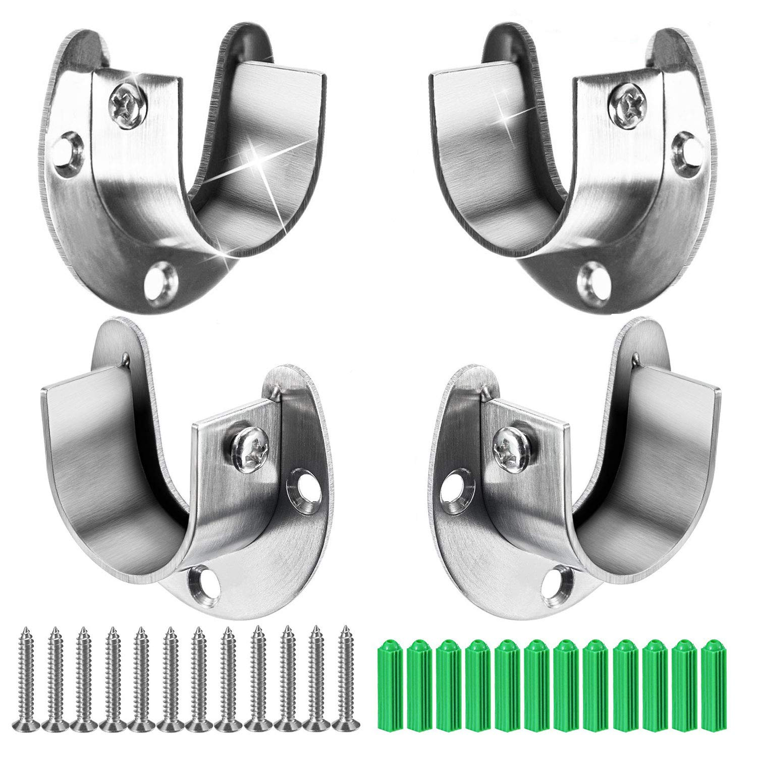 Canomo 4 Packs Heavy Duty Stainless Steel Closet Rod End Supports Closet Pole Sockets Flange Rod Holder with Screws, 1-1/3 Inches Diameter, U-Shaped