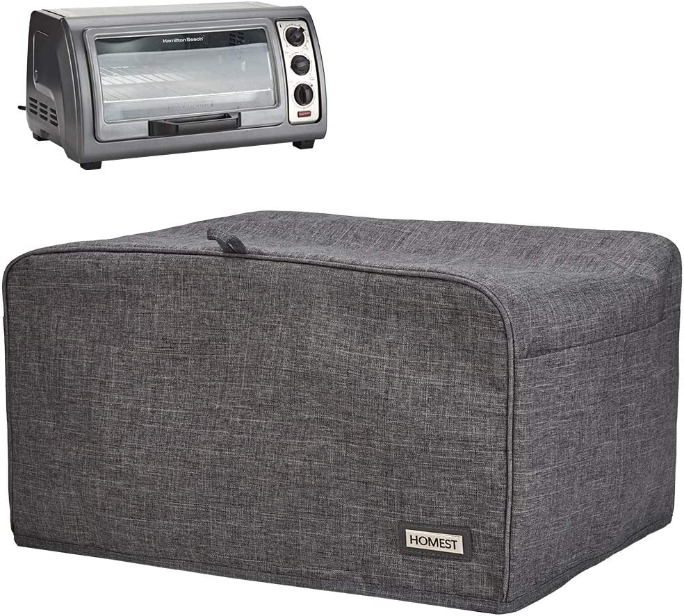 HOMEST Toaster Oven Dust Cover with Accessory Pockets Compatible with Hamilton Beach 6 Slice of Toaster Oven, Grey (Patent Pending)