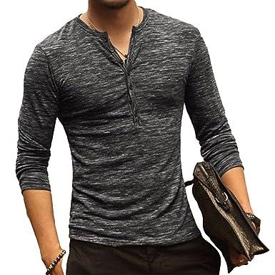 Polo Manga Larga para Hombre Color Sólido Cuello V Camisetas ...