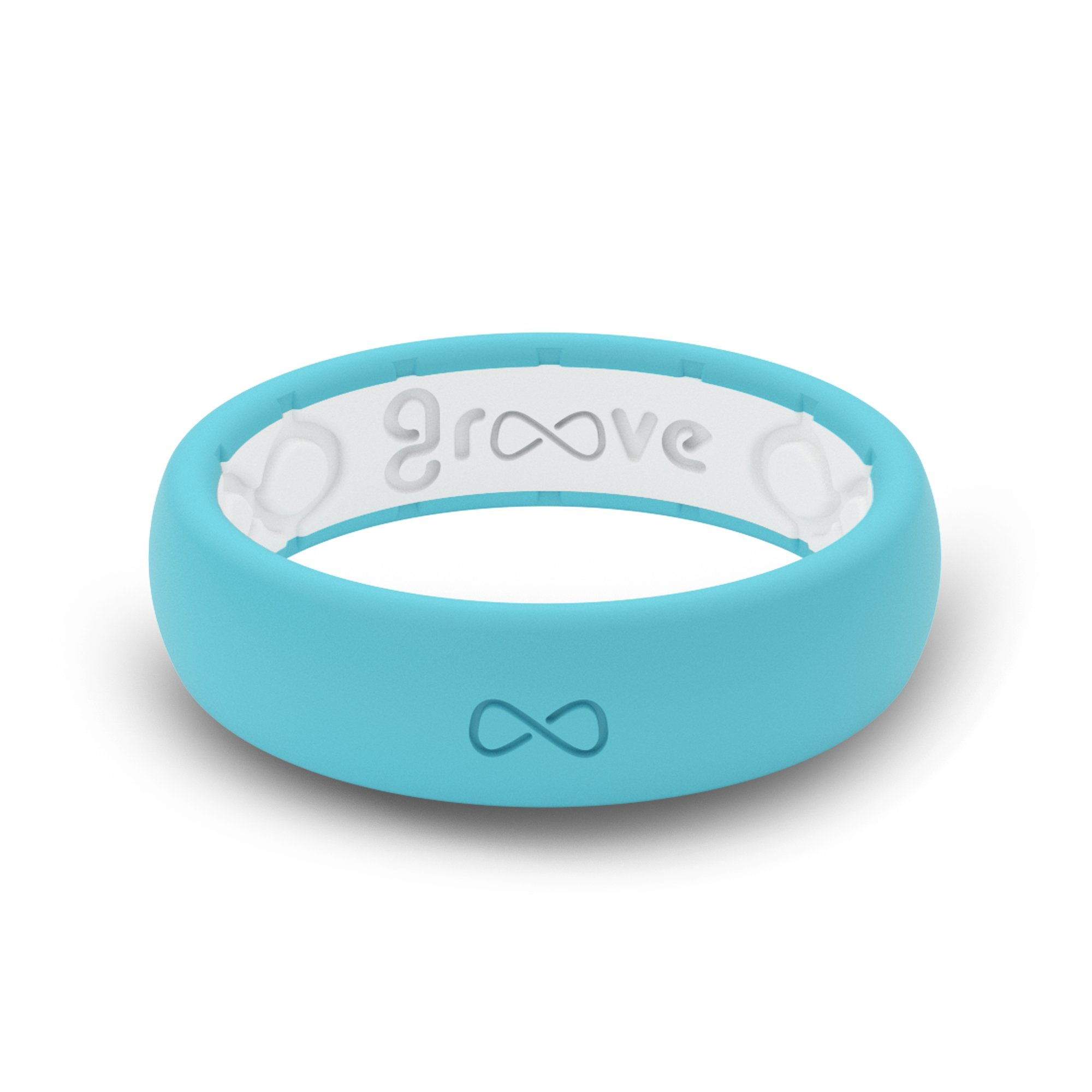 Groove Plus Life - Groove Ring The World's First Breathable Silicone Ring Thin (Turquoise/Snow White) (Size 8)