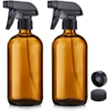 NIUTA Empty Glass Spray Bottles with Labels - 16 Oz Refillable Container for Essential Oils, Cleaning Products, or Aromathera