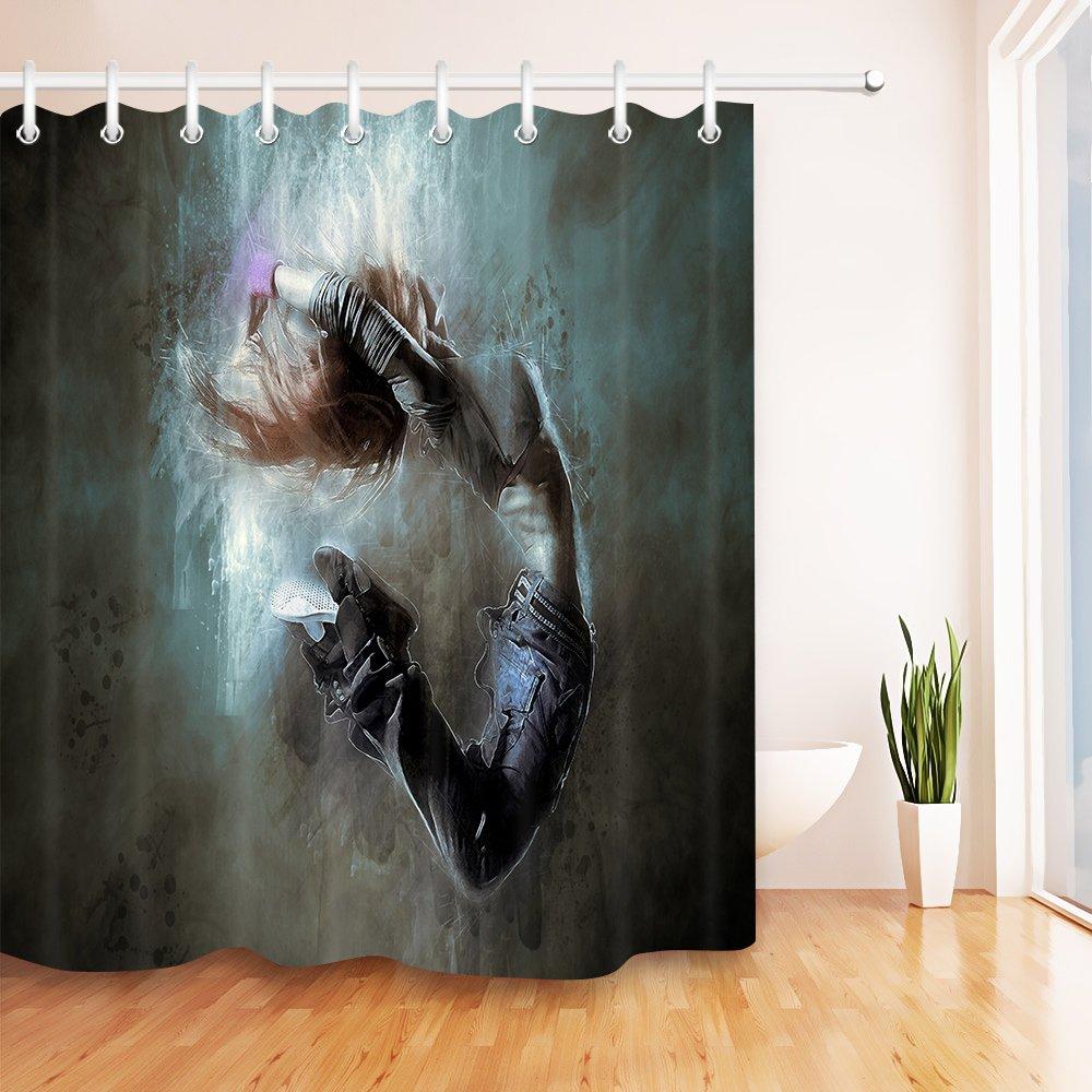 LB Dancing Girl Decor Print Shower Curtains for Bathroom, Music Dance Theme Decor Curtain, 70'' x 70'' Fabric Shower Curtain Waterproof Mildew Free
