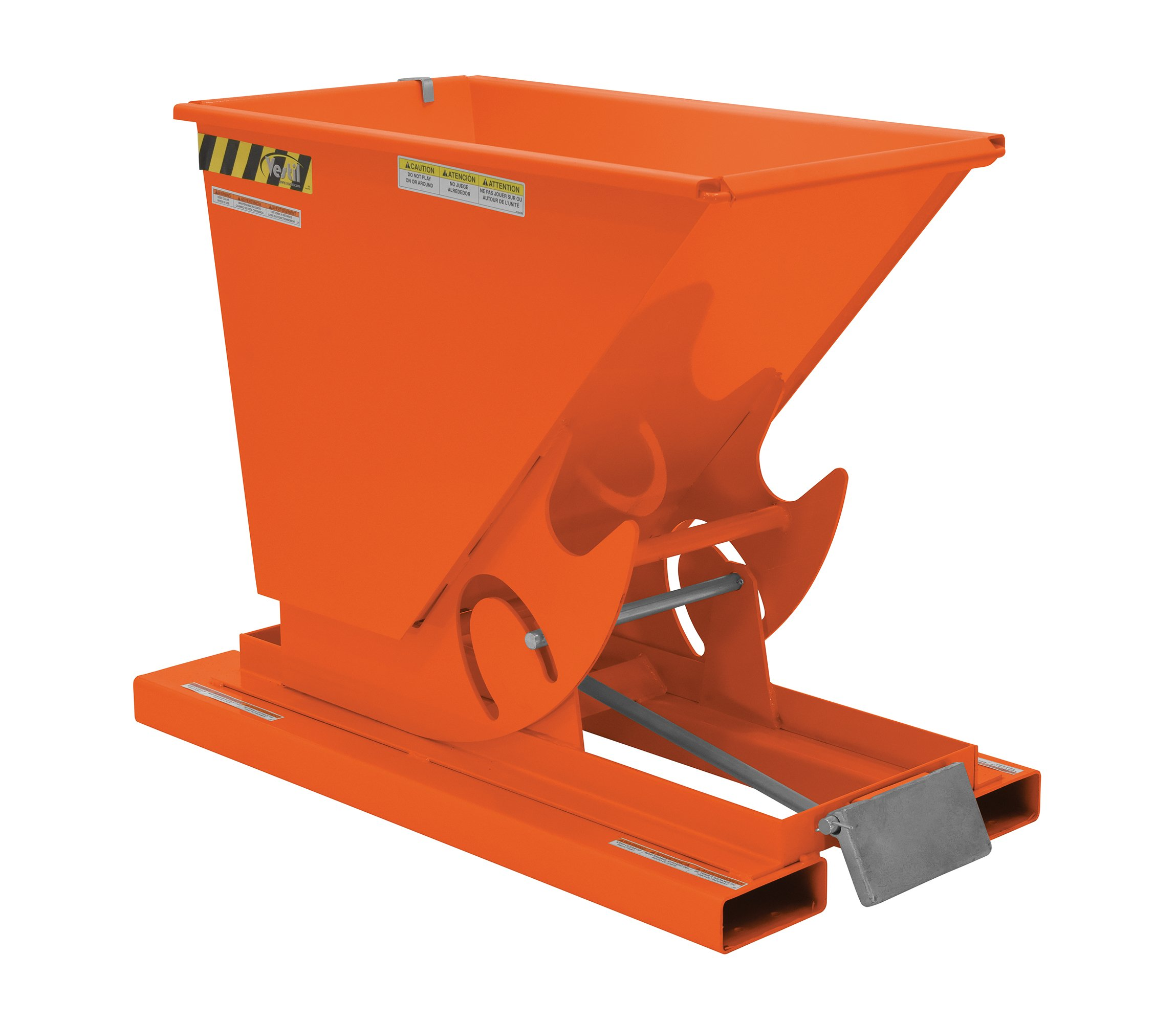 Vestil D-25-MD-ORG-C Self-Dump MD Hopper, 0.25 cu. yd, 4000 lb. Capacity, Overall L x W x H (in.) 51-7/8'' x 26'' x 38-1/16, Orange