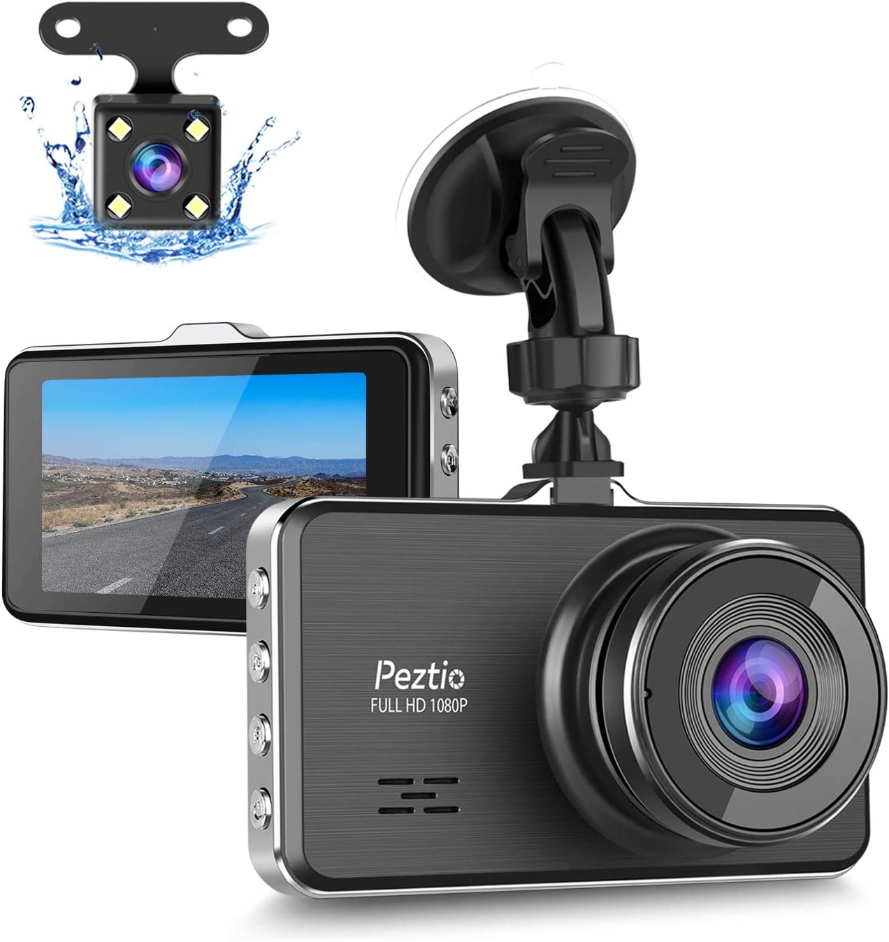 Dash Cam Front and Rear, Full HD 1080P Dash Camera for Cars, Car Dash Camera with 3 inch IPS Screen, G-Sensor, Parking Monitor, Loop Recording, Night Vision