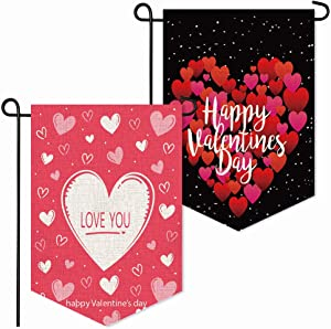 YBB 2 Pcs Happy Valentine's Day Garden Heart Burlap Flag, Double Sided 12 x 18 Inch Vertical Red Heart Love You Decorative House Flags for Wedding Anniversary Home Yard Party Decor