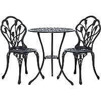 Gardeon 3PC Outdoor Setting Cast Aluminium Bistro Table Chairs Garden Patio
