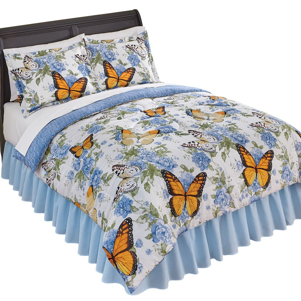 Nadine Reversible Blue Rose Floral Butterfly Comforter Set, Blue, Twin