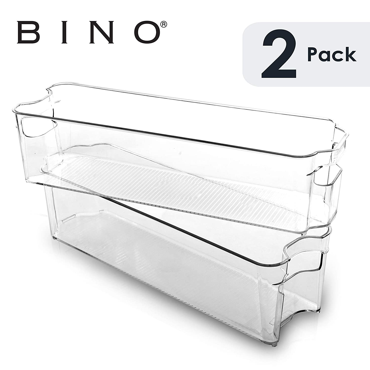 BINO Stackable Plastic Organizer Storage Bins, Small - 2 Pack - Pantry Organization and Storage Refrigerator Organizer Bins Fridge Organizer Freezer Organizer Pantry Organizer Pantry Storage