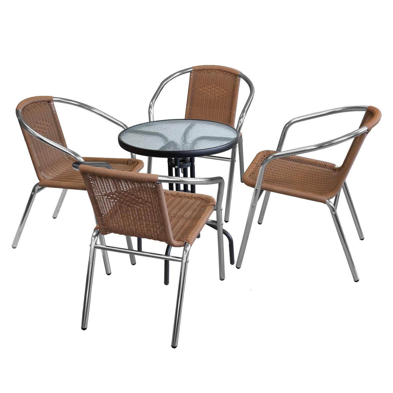 Wohaga 5tlg. Sitzgruppe Glastisch Ø60cm rund + 4X Aluminium Stapelstuhl Poly-Rattanbespannung Silber/Natur Bistrostuhl
