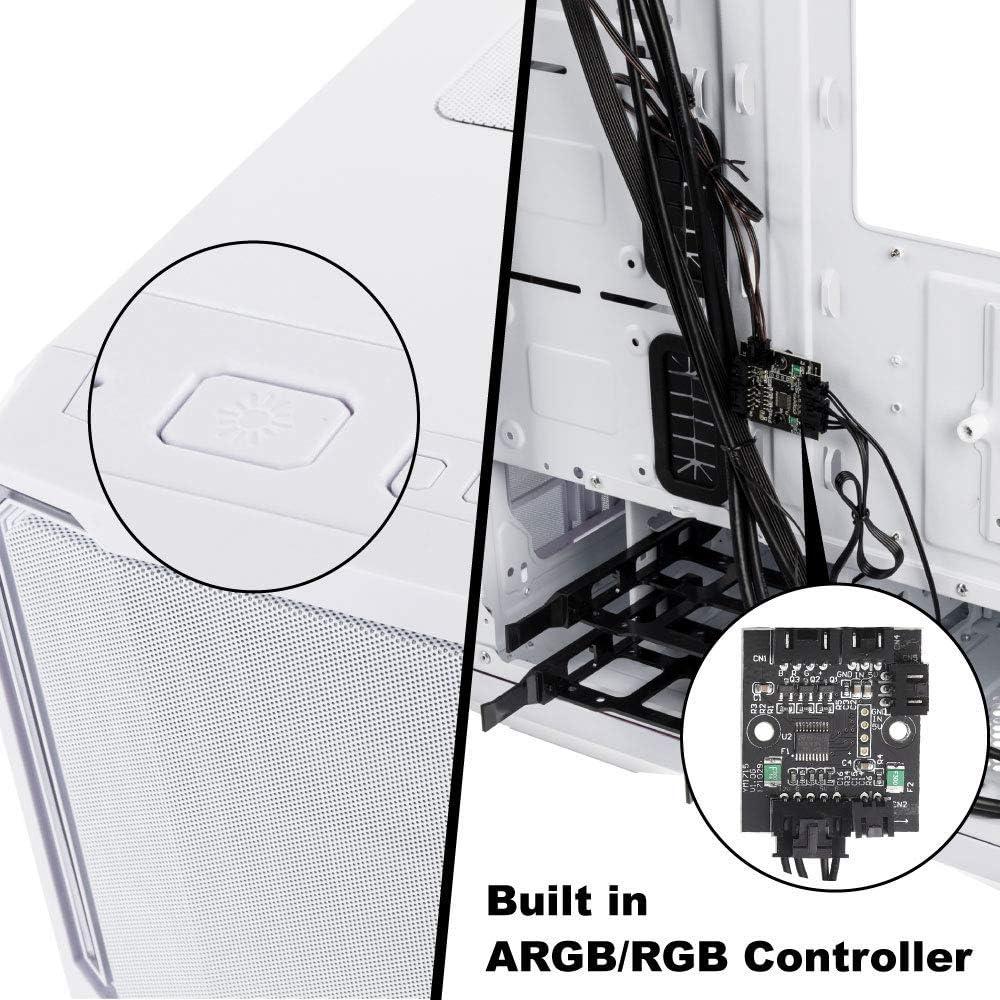 BITFENIX Gabinete Nova Mesh TG Blanca BFC-NVM-300-WWGKW-RP EATX//ATX//Micro ATX//Mini ITX Vidrio Templado//Aura Sync Ventilador RGB