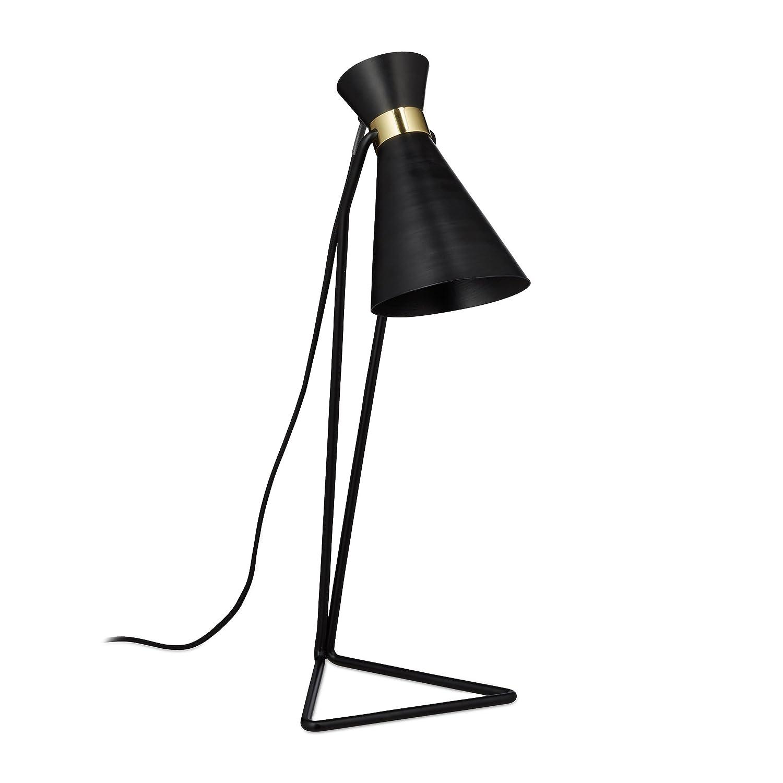 Wei/ß Dreieckiger Fu/ß Metall Modern Relaxdays Schreibtischlampe geometrisch HxBxT: 49 x 19 x 18 cm