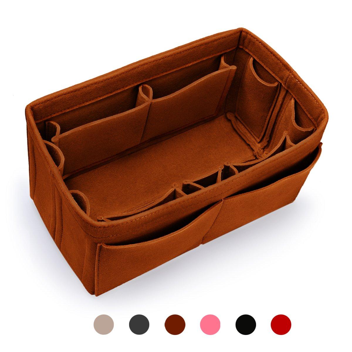MakeUper Felt Purse Insert Organizer, Handbag Organizer, Bag in Bag, 12 Compartments (Large, Brown)