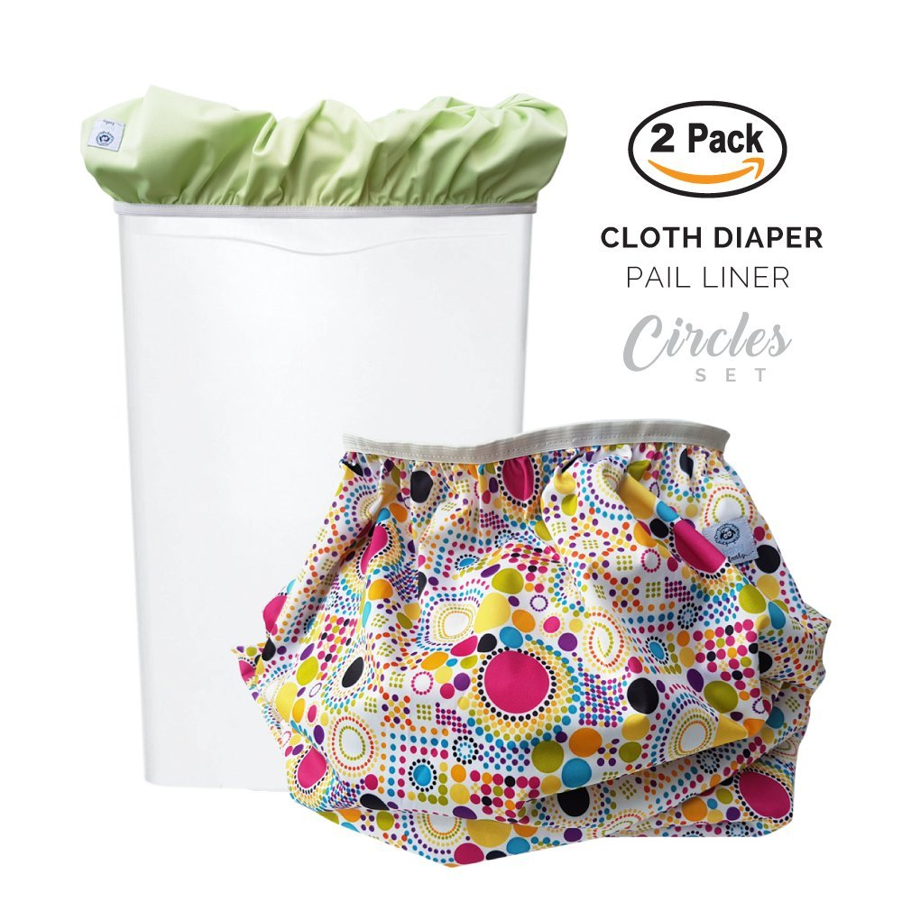 Baby Tooshy Diaper Pail Liner Set (2) - Large Capacity Wet Bag for Cloth & Disposable Diapers. Effectively Contains Stinky Diapers. Heavy Duty PUL offers Superior Leak Free Protection. Circles