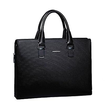 Sammons Men's Leather Weave Business Case Briefcase Portfolio Tote Handbag Black