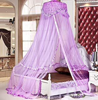 Sinotop Luxury Princess Bed Net Canopy Round Hoop Netting Mosquito Net Bedroom Decor (purple) & Amazon.com: Housweety Purple New Round Lace Curtain Dome Bed ...