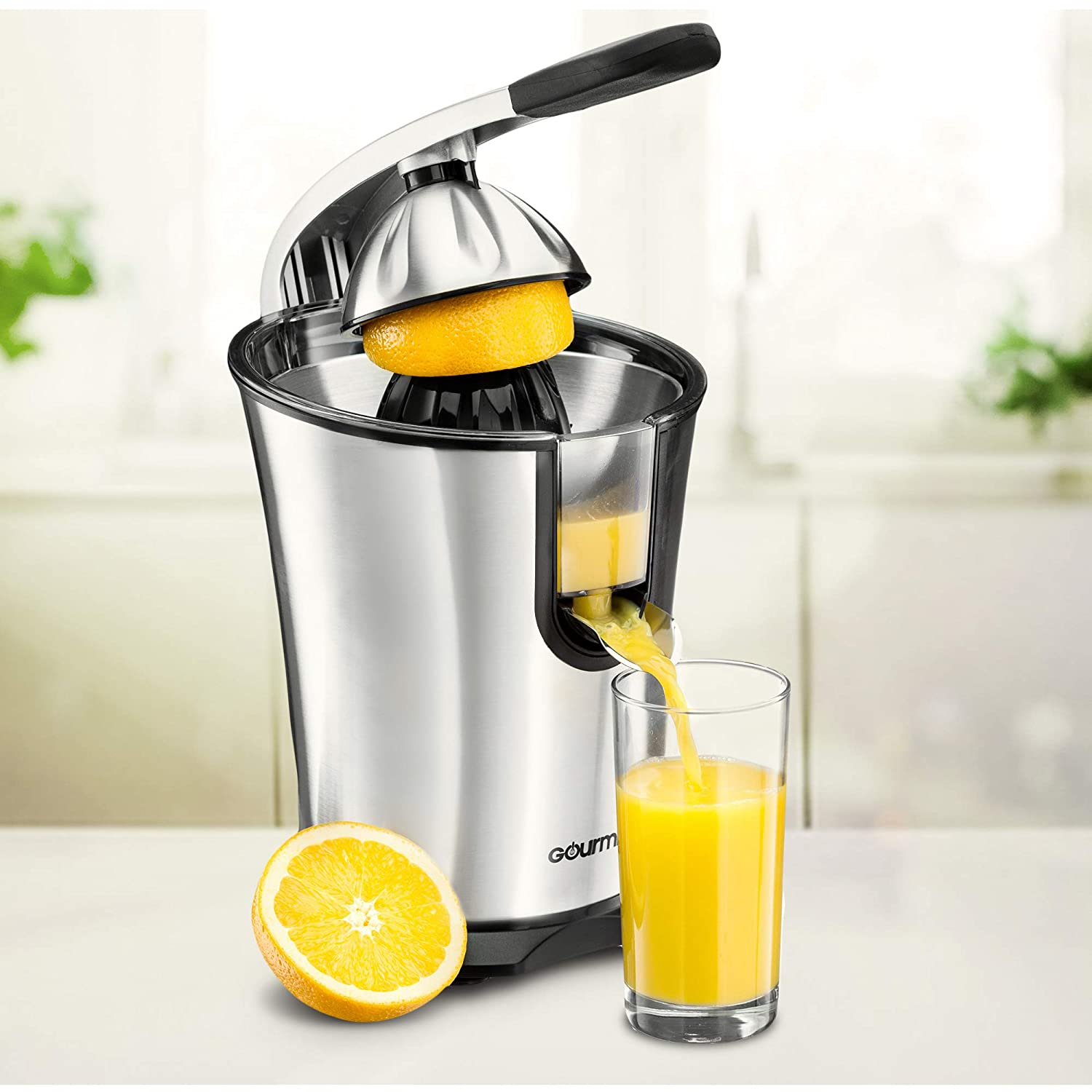 Gourmia EPJ100 Electric Citrus Juicer Stainless Steel 10 QT 160 Watts Rubber Handle And Cone Lid For Easy Use One-Size-Fits-All Juice Cone For Easy Storage. – 110V